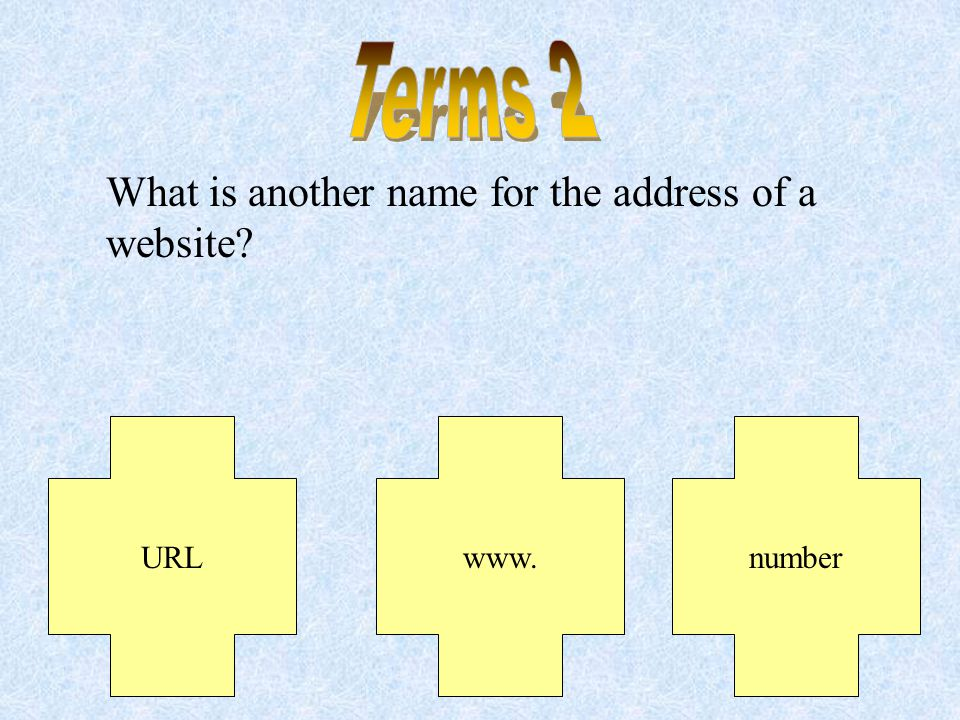 What is the name for one page in a site Its the one you see on the screen. Web pageWebsiteInternet