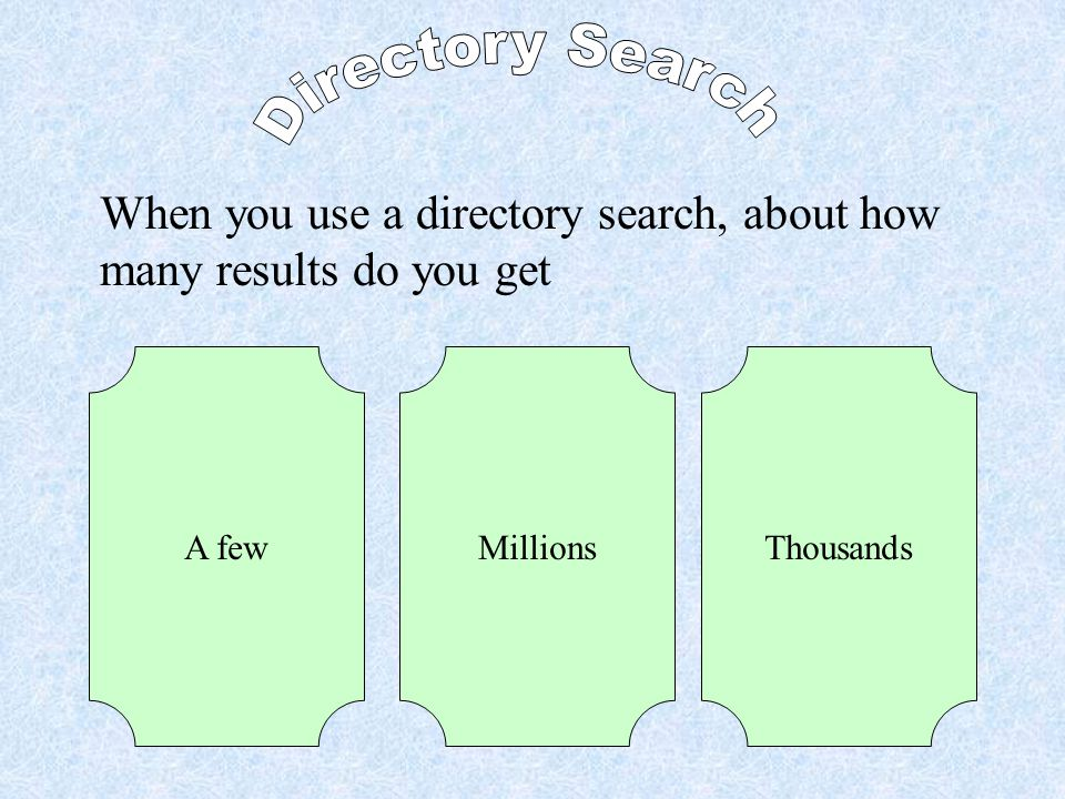 Which search engine did we use for directory searches? NettrekkerYahooGoogle