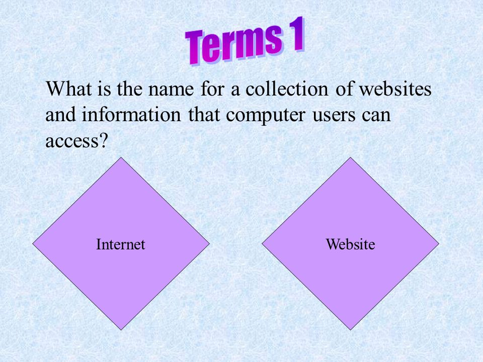 This game will take you through a review of what we learned about the Internet. Click on the first box. Read through the information on the screen, an