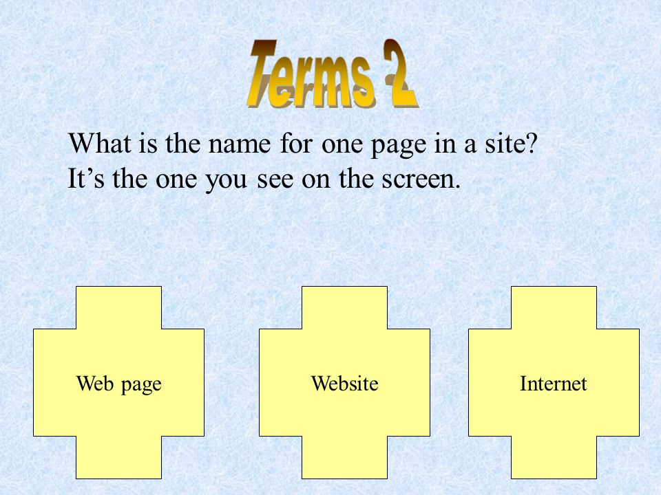 What is a collection of pages created by the same person or organization that are linked together called? Internet Website Web Page