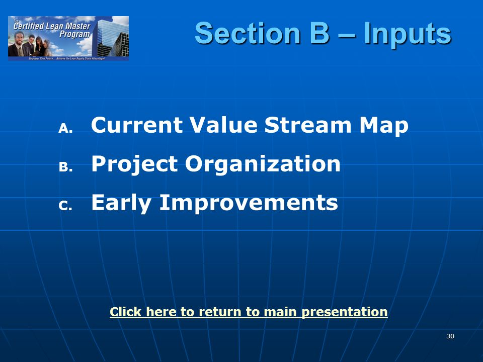 30 Section B – Inputs A. A. Current Value Stream Map B.