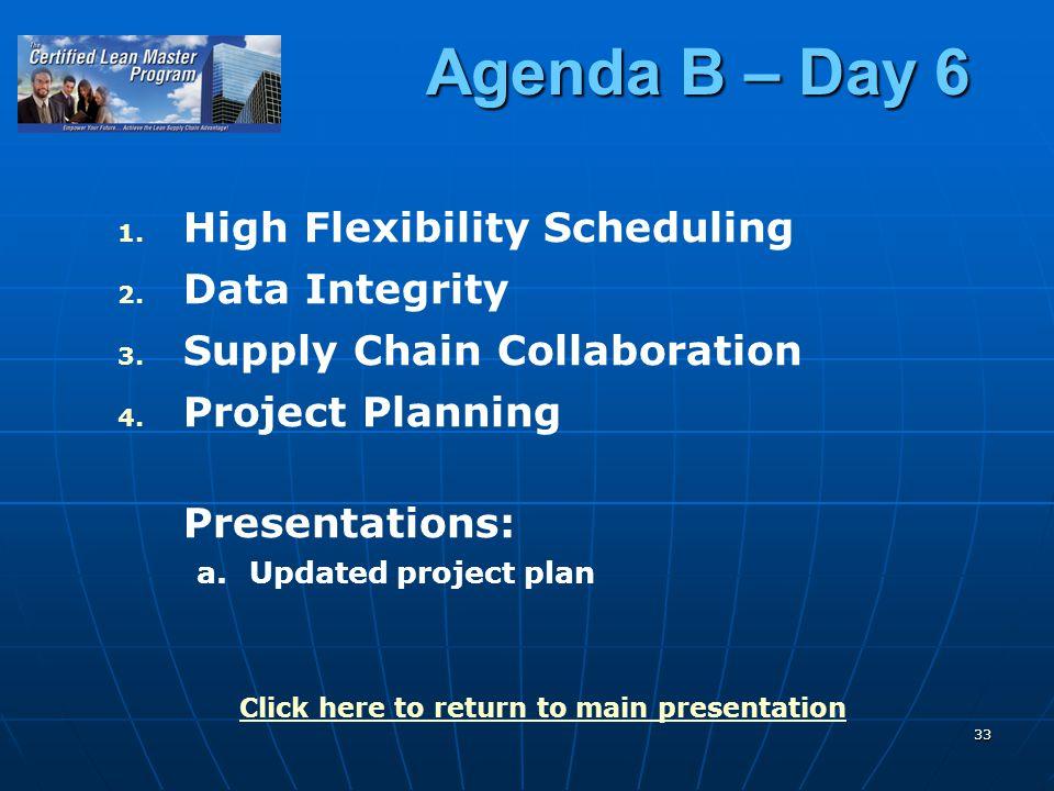 33 Agenda B – Day 6 1. 1. High Flexibility Scheduling 2.