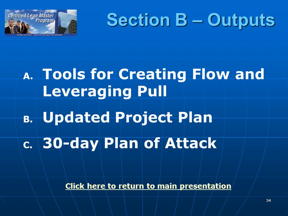 34 Section B – Outputs A. A. Tools for Creating Flow and Leveraging Pull B.