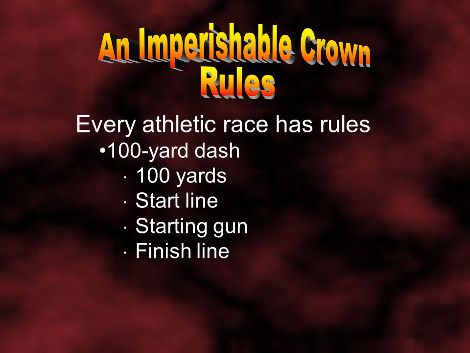 Every athletic race has rules Olympic mile 5,280 feet Oval track Starting line & time ID number Chemical blood tests