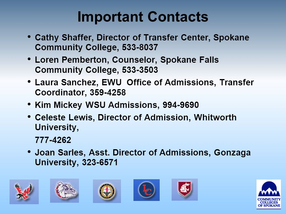 Important Contacts Cathy Shaffer, Director of Transfer Center, Spokane Community College, 533-8037 Loren Pemberton, Counselor, Spokane Falls Community College, 533-3503 Laura Sanchez, EWU Office of Admissions, Transfer Coordinator, 359-4258 Kim Mickey WSU Admissions, 994-9690 Celeste Lewis, Director of Admission, Whitworth University, 777-4262 Joan Sarles, Asst.