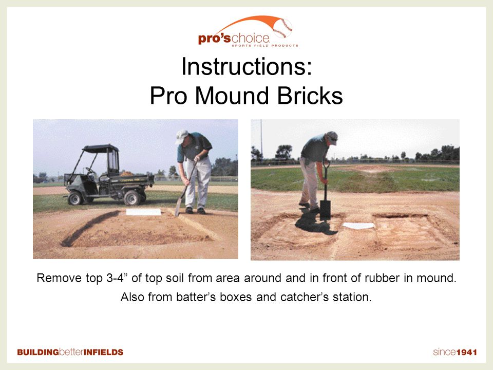 Instructions: Pro Mound Bricks Remove top 3-4 of top soil from area around and in front of rubber in mound.