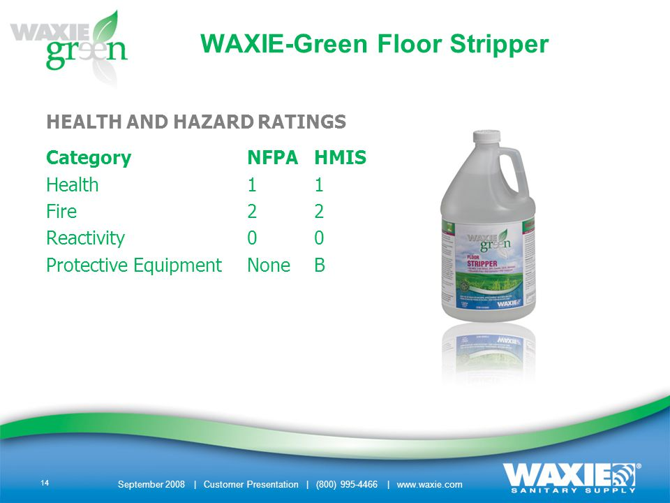 September 2008 | Customer Presentation | (800) 995-4466 | www.waxie.com 14 WAXIE-Green Floor Stripper HEALTH AND HAZARD RATINGS CategoryNFPAHMIS Health11 Fire22 Reactivity00 Protective EquipmentNoneB