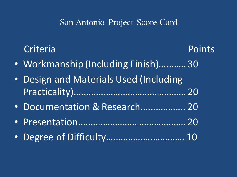 San Antonio Project Score Card Criteria Points Workmanship (Including Finish)…..…… 30 Design and Materials Used (Including Practicality).…………………………………