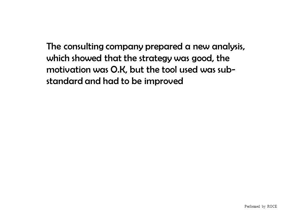 Performed by ROCE The consulting company prepared a new analysis, which showed that the strategy was good, the motivation was O.K, but the tool used was sub- standard and had to be improved
