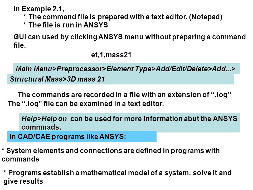 In Example 2.1, * The command file is prepared with a text editor. (Notepad) * The file is run in ANSYS GUI can used by clicking ANSYS menu without pr