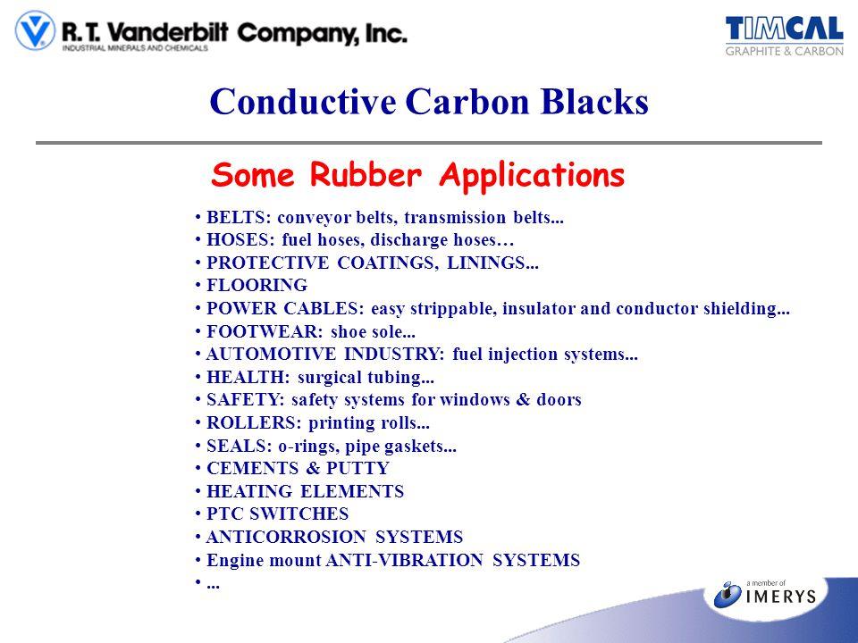 Conductive Carbon Blacks Some Rubber Applications BELTS: conveyor belts, transmission belts... HOSES: fuel hoses, discharge hoses… PROTECTIVE COATINGS