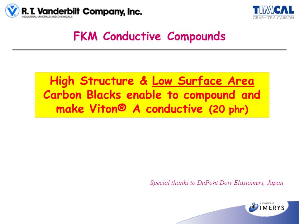 FKM Conductive Compounds High Structure & Low Surface Area Carbon Blacks enable to compound and make Viton® A conductive (20 phr) Special thanks to Du
