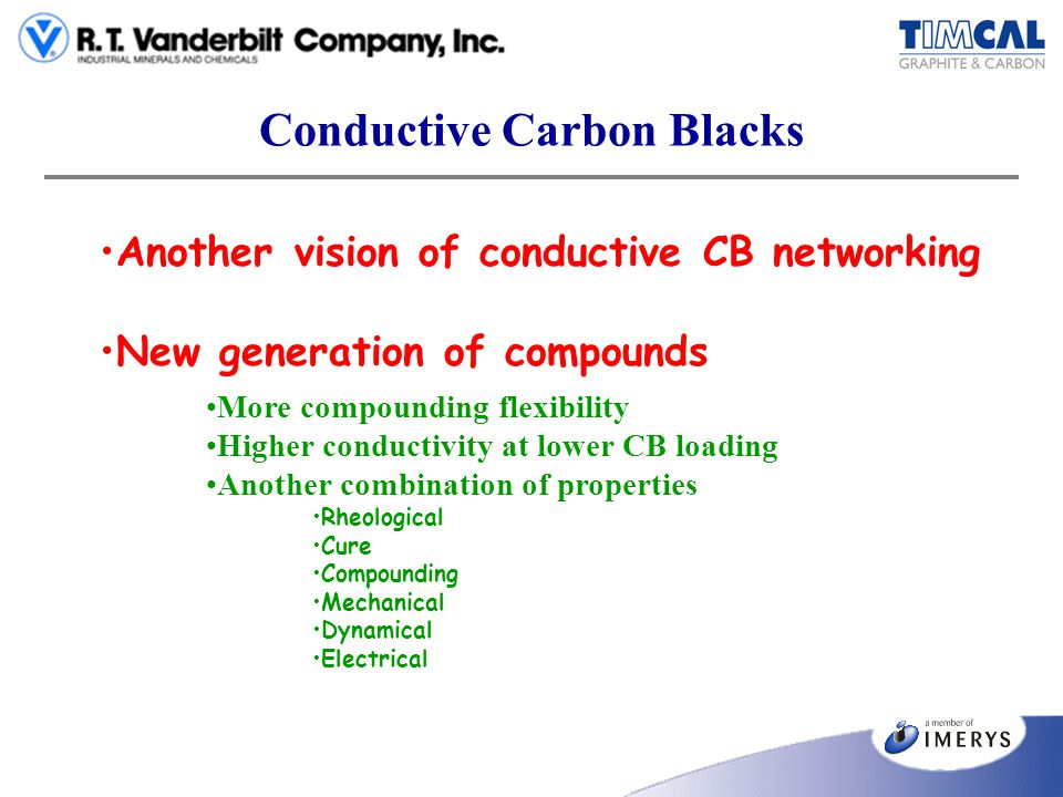 Conductive Carbon Blacks Another vision of conductive CB networking New generation of compounds More compounding flexibility Higher conductivity at lo