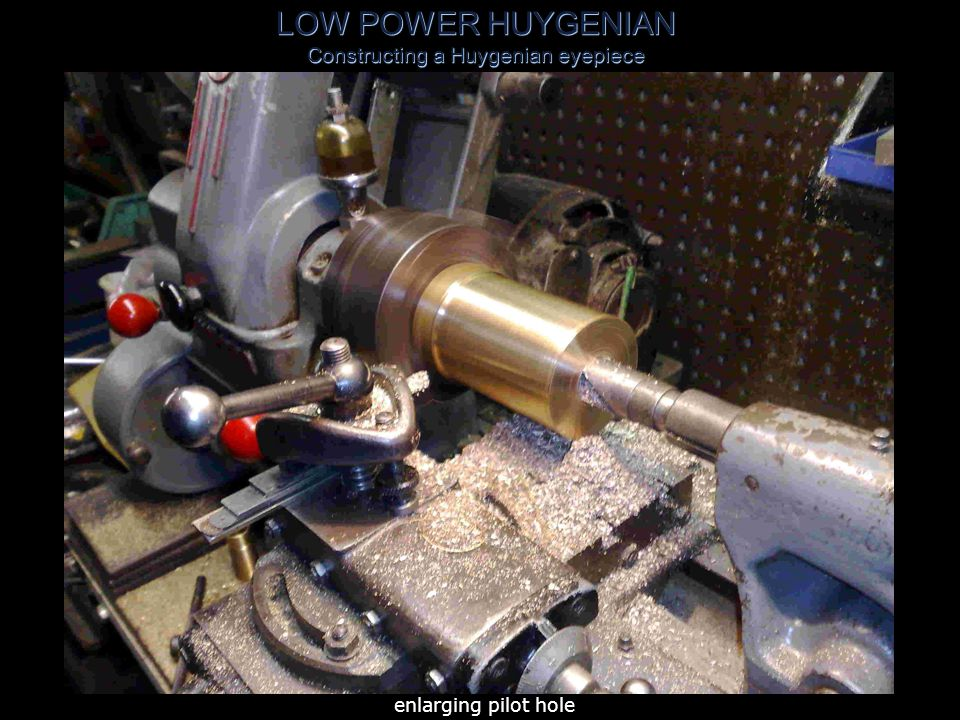 LOW POWER HUYGENIAN Constructing a Huygenian eyepiece 2 .5 OD x 16swg tube mounted on mandrel & turned to exact length 2 .768