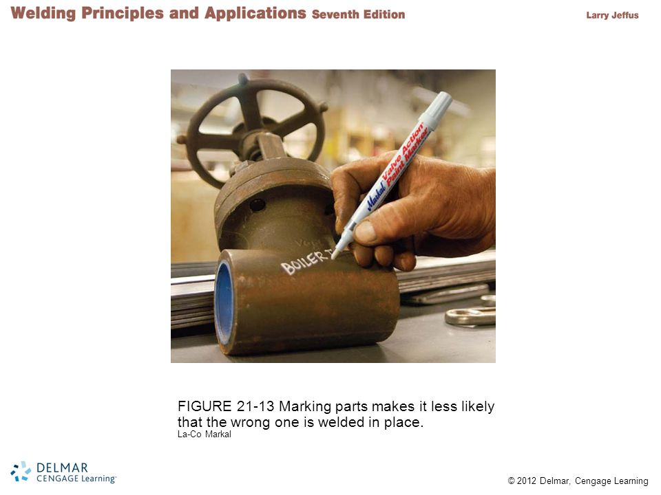 © 2012 Delmar, Cengage Learning FIGURE 21-13 Marking parts makes it less likely that the wrong one is welded in place. La-Co Markal