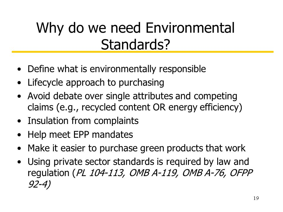 19 Why do we need Environmental Standards.