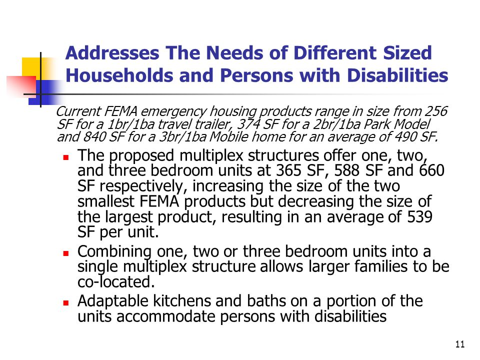 11 Addresses The Needs of Different Sized Households and Persons with Disabilities Current FEMA emergency housing products range in size from 256 SF for a 1br/1ba travel trailer, 374 SF for a 2br/1ba Park Model and 840 SF for a 3br/1ba Mobile home for an average of 490 SF.