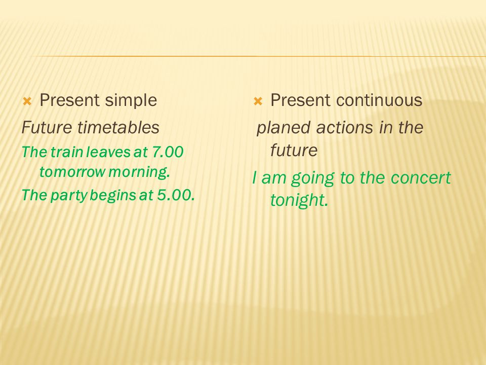 SIMPLECONTINUOUS Action that will be completed by a certain time in the future I will have finished homework by 5.00.