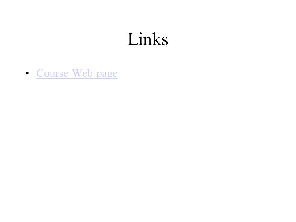 Links Course Web page