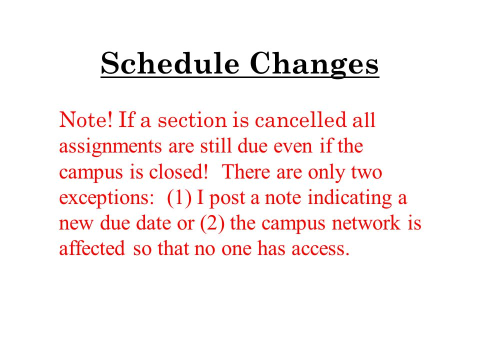 Schedule Changes Note.