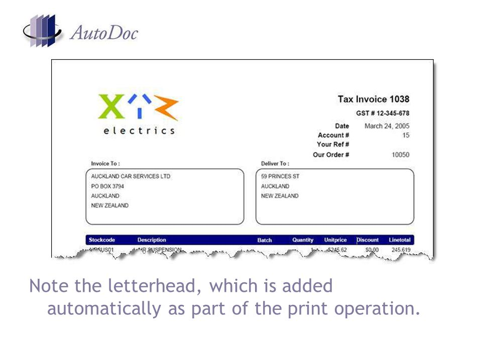 Note the letterhead, which is added automatically as part of the print operation.