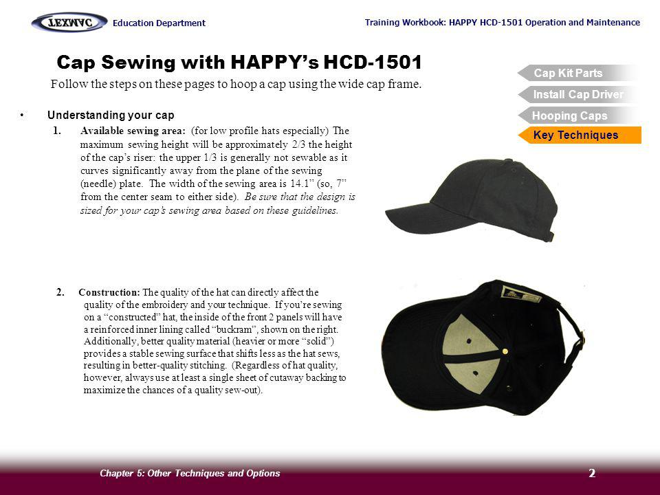 Training Workbook: HAPPY HCD-1501 Operation and Maintenance Education Department Chapter 5: Other Techniques and Options 3 Cap Sewing with HAPPYs HCD-1501 Cap Kit Parts Hooping Caps Install Cap Driver Key Techniques Follow the steps on these pages to hoop a cap using the wide cap frame.