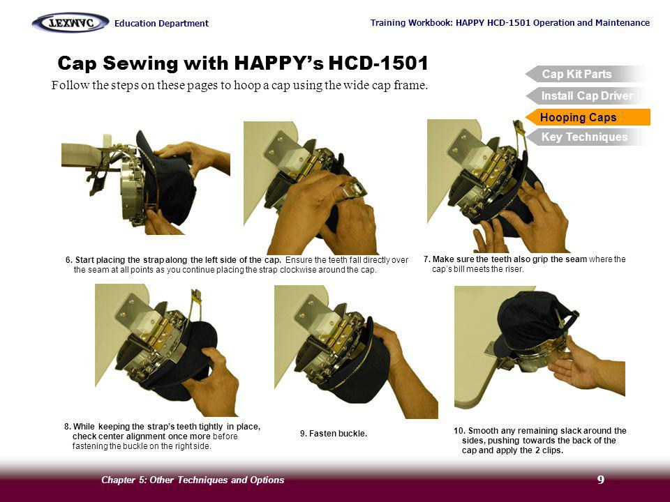 Training Workbook: HAPPY HCD-1501 Operation and Maintenance Education Department Chapter 5: Other Techniques and Options 9 Cap Sewing with HAPPYs HCD-