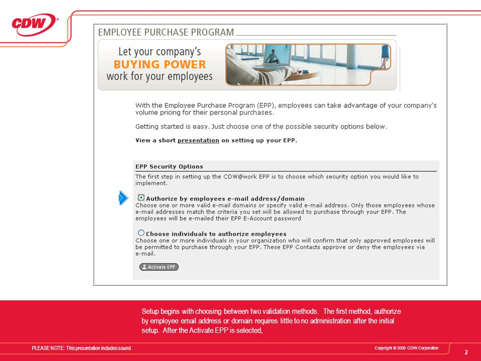 CDW Proprietary and Confidential. Copying Restricted. For internal use only. 2 Copyright © 2009 CDW Corporation PLEASE NOTE: This presentation include