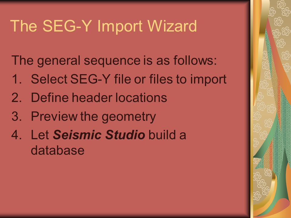 The SEG-Y Import Wizard The general sequence is as follows: 1.Select SEG-Y file or files to import 2.Define header locations 3.Preview the geometry 4.
