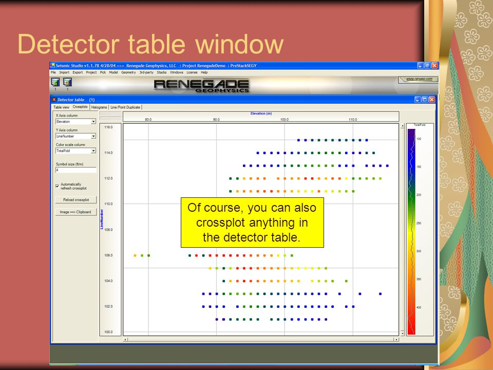 Detector table window As you create more windows, window icons will show up here so you can navigate among them easily. Of course, you can also crossp