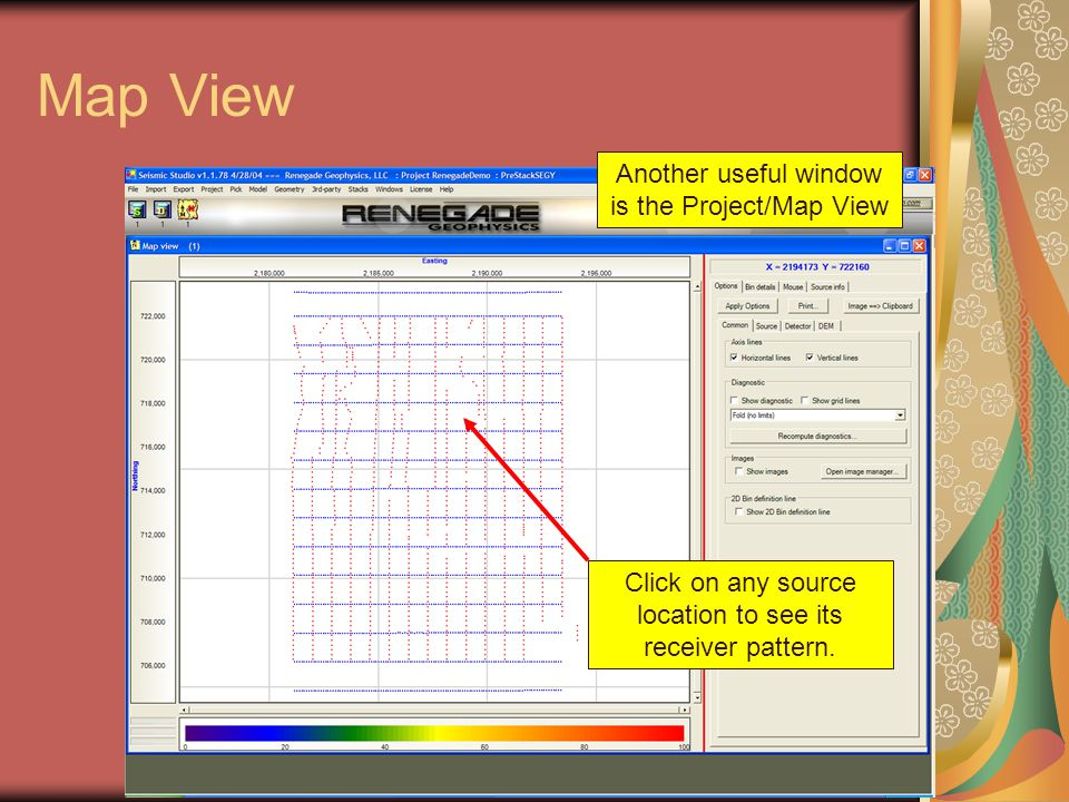 Map View Click on any source location to see its receiver pattern. Another useful window is the Project/Map View