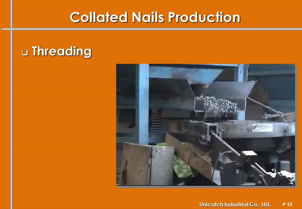 P 13 Unicatch Industrial Co., Ltd. Collated Nails Production Threading Threading
