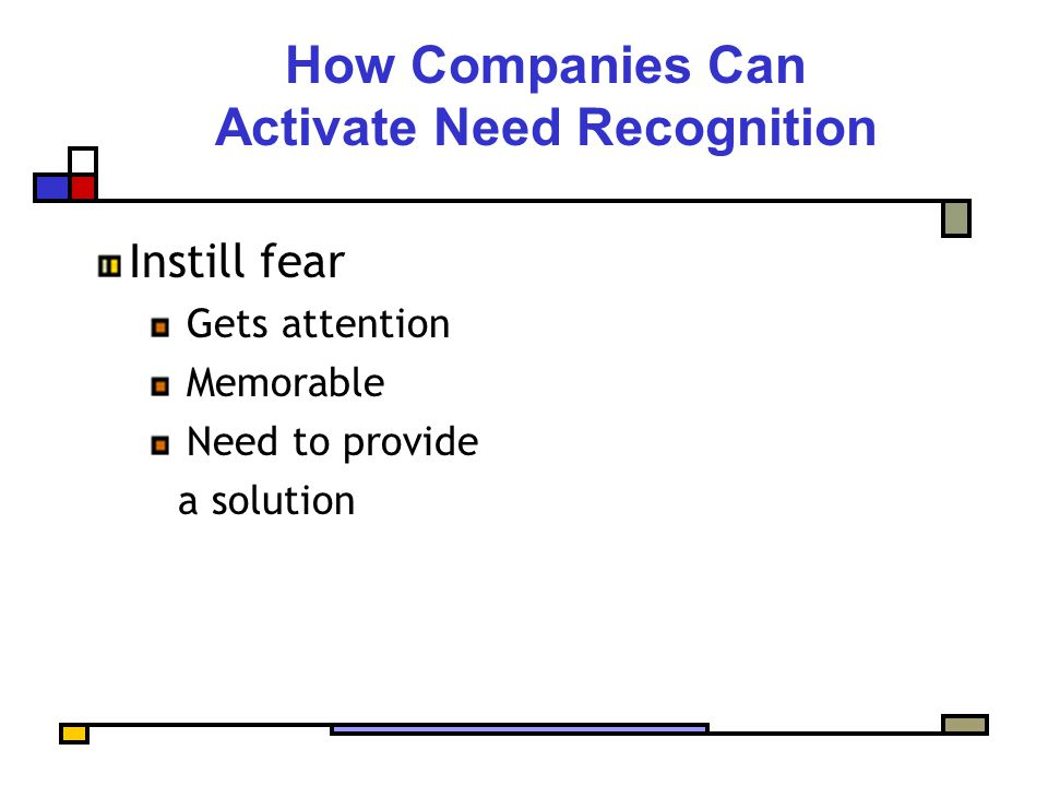 How Companies Can Activate Need Recognition Instill fear Gets attention Memorable Need to provide a solution