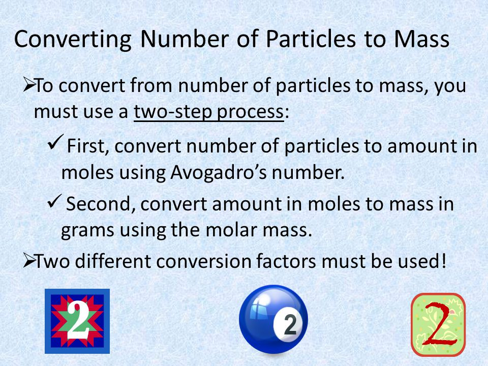 Converting Between Mass, Amount, and Number of Particles