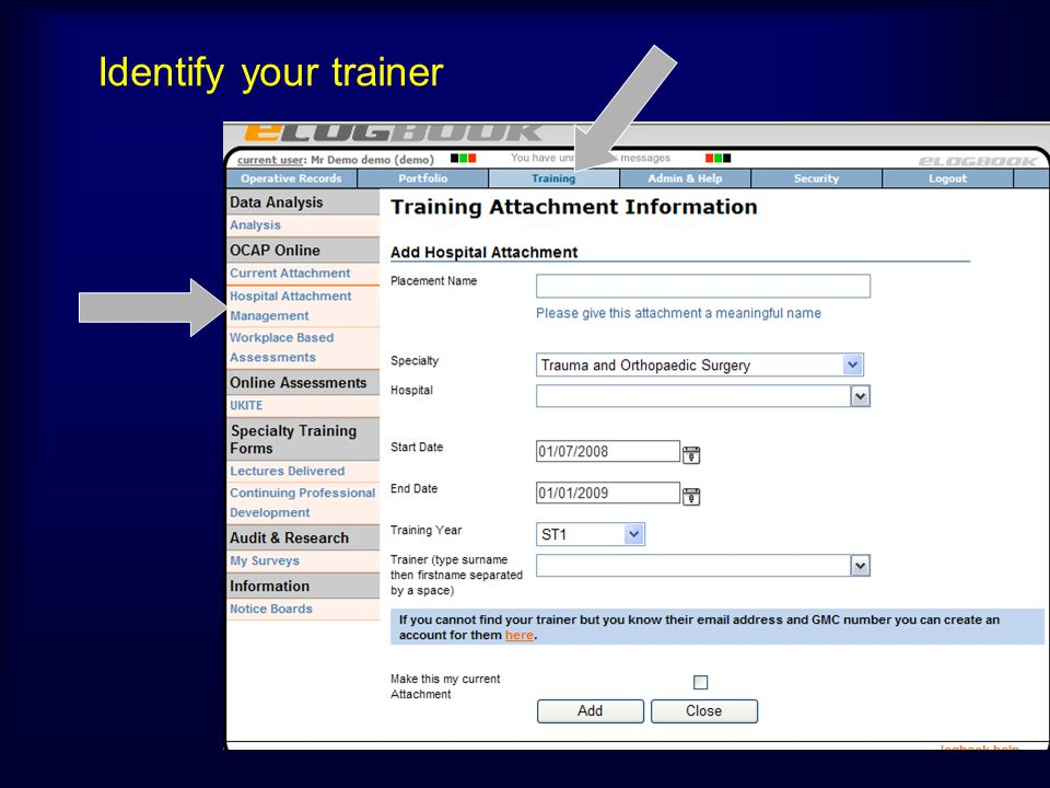 Identify your trainer