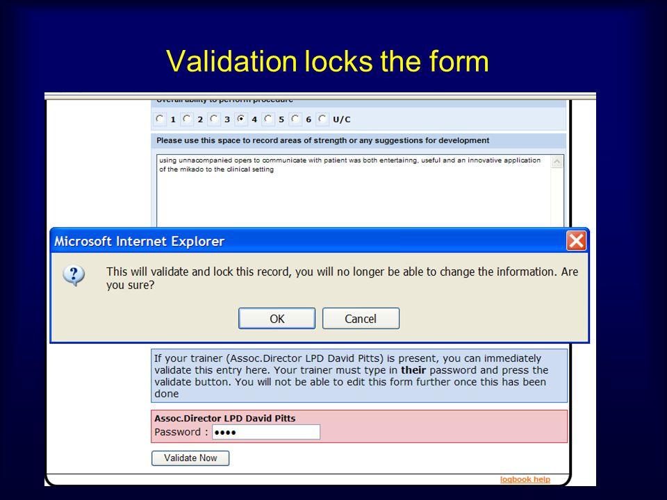 Validation locks the form