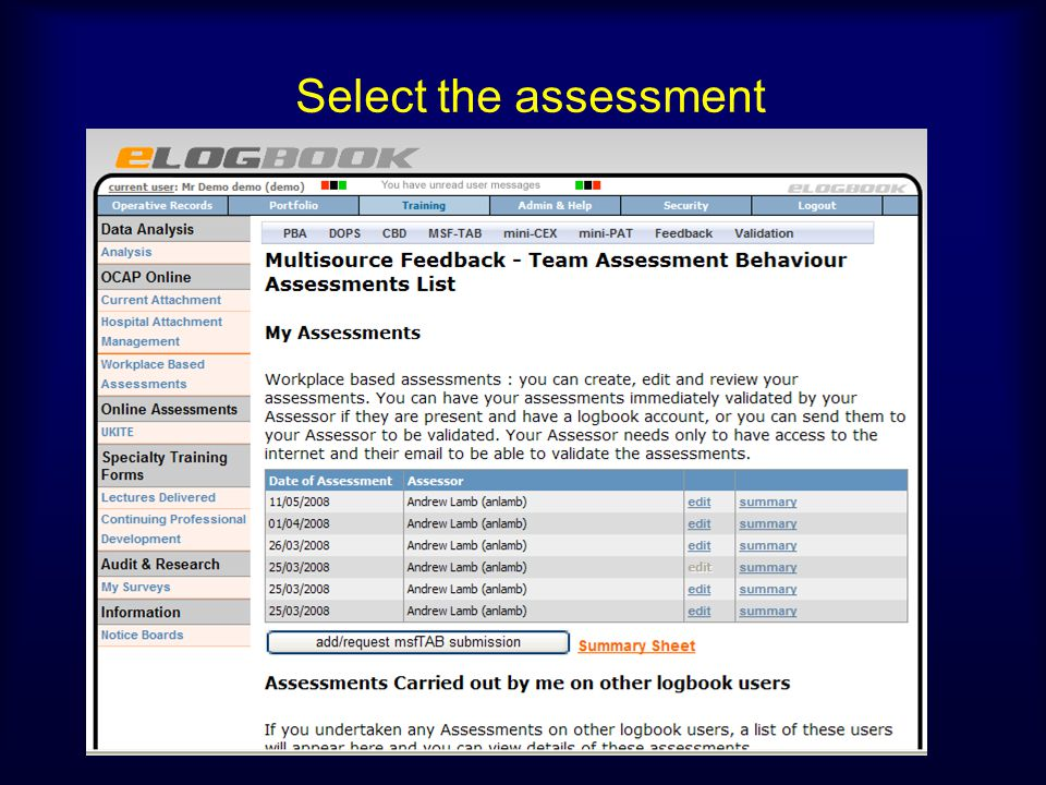 Select the assessment