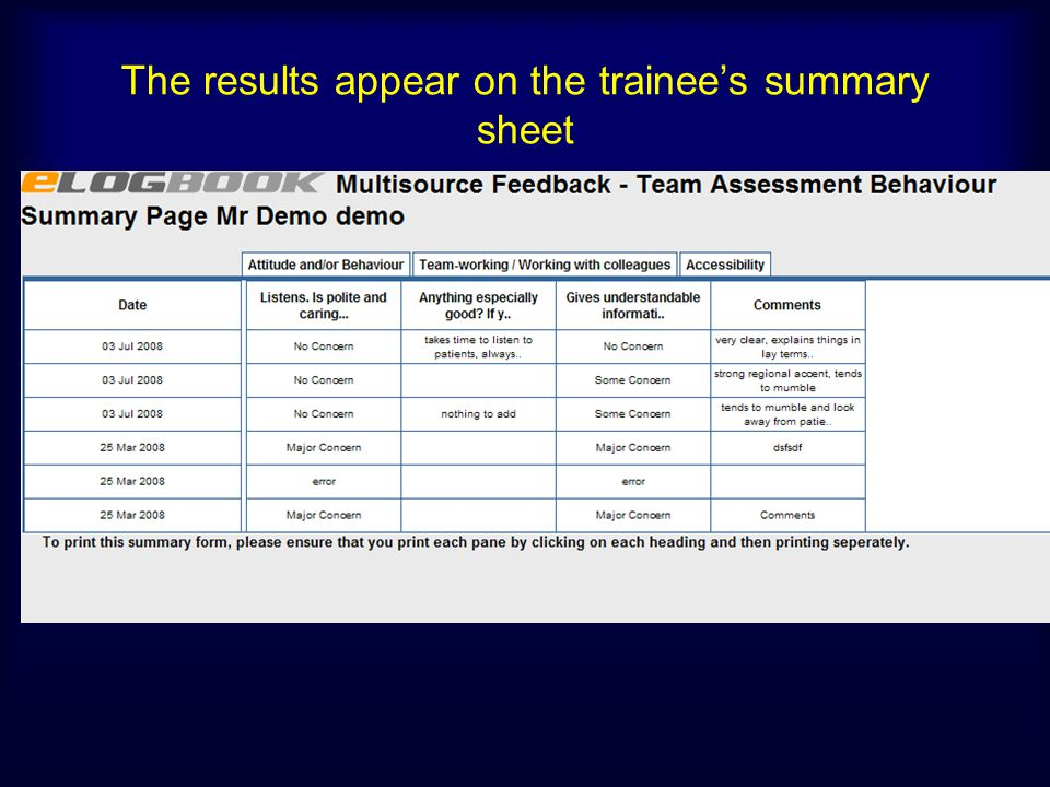 The results appear on the trainees summary sheet
