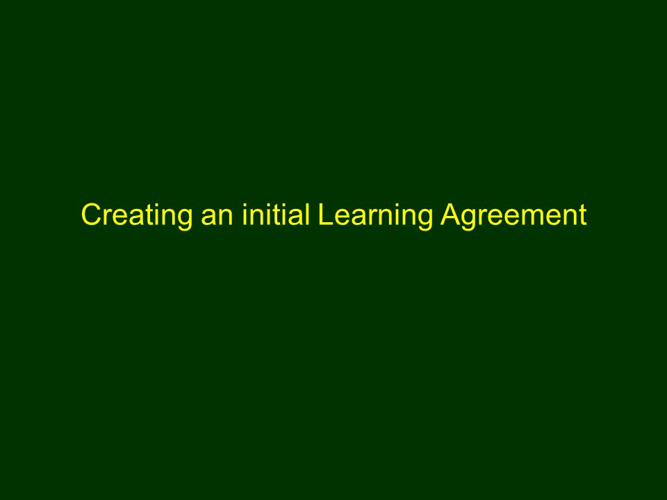 Creating an initial Learning Agreement