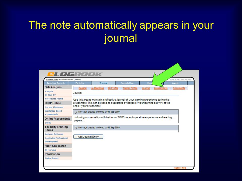 The note automatically appears in your journal