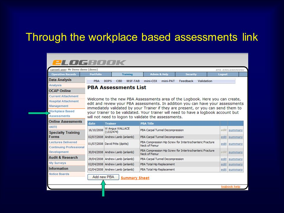 Through the workplace based assessments link