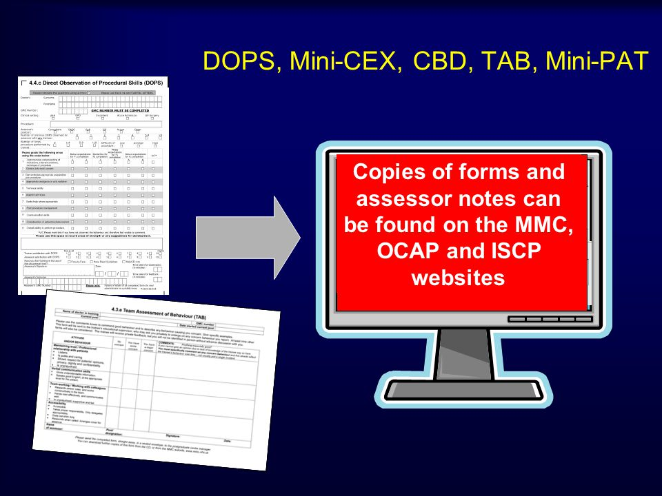 DOPS, Mini-CEX, CBD, TAB, Mini-PAT Copies of forms and assessor notes can be found on the MMC, OCAP and ISCP websites