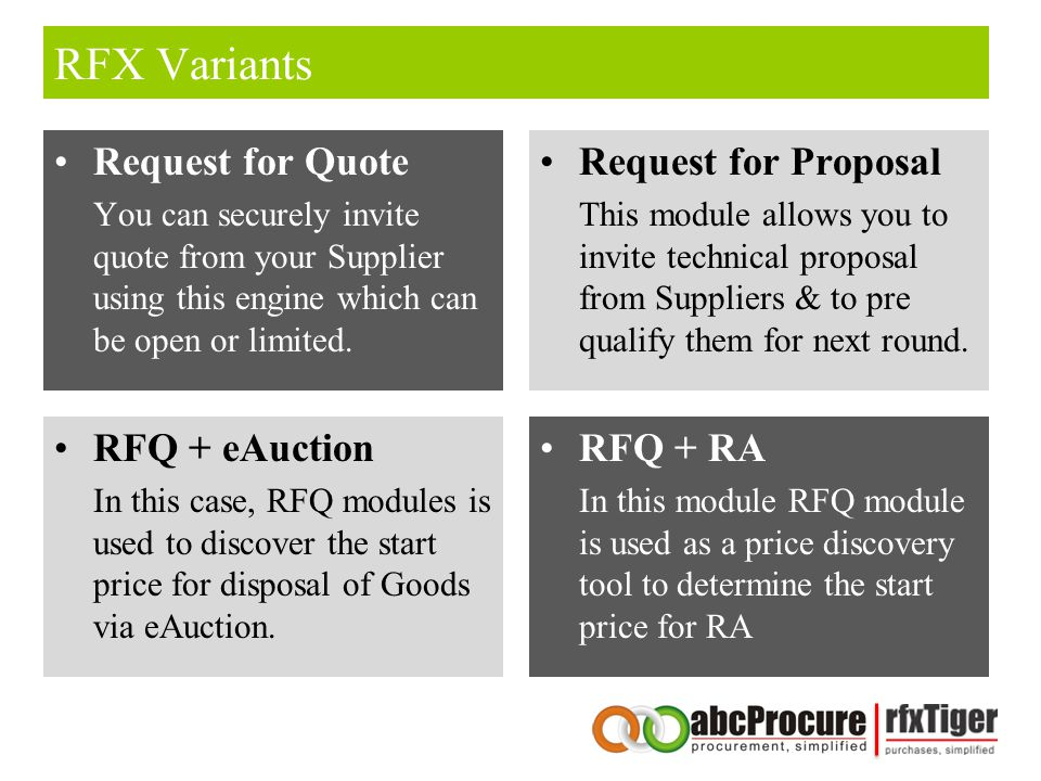 RFX Variants Request for Quote You can securely invite quote from your Supplier using this engine which can be open or limited.