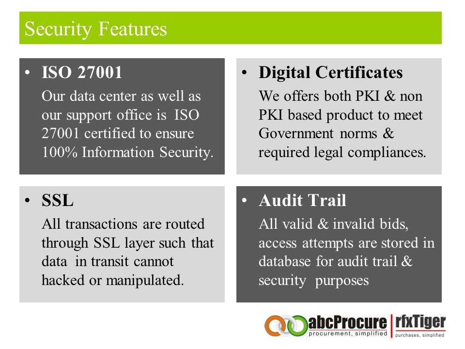 Security Features ISO 27001 Our data center as well as our support office is ISO 27001 certified to ensure 100% Information Security.