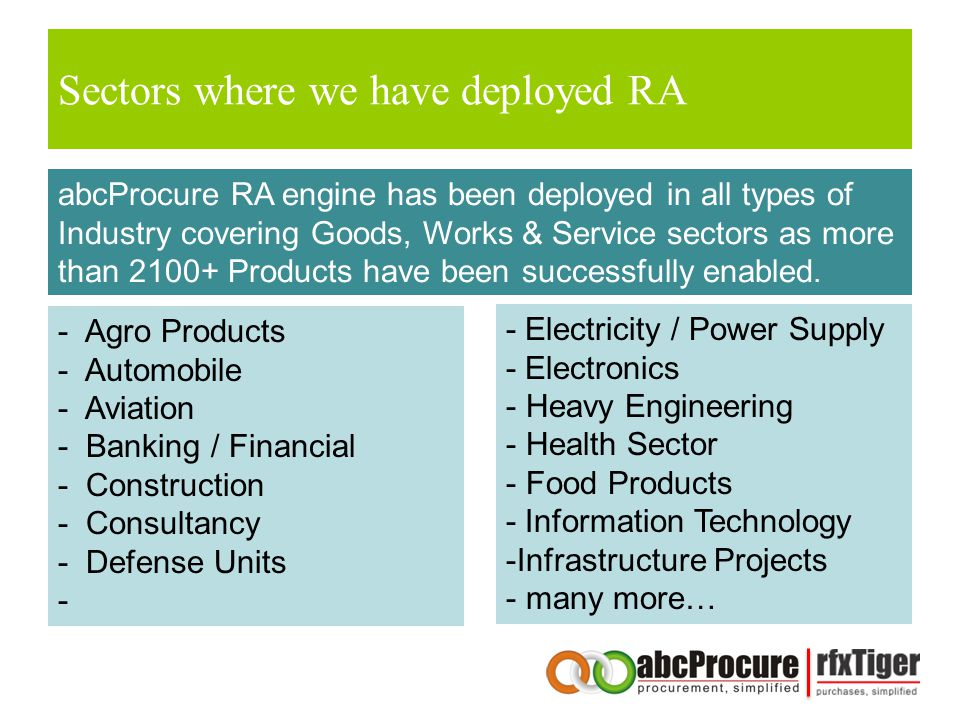 Sectors where we have deployed RA abcProcure RA engine has been deployed in all types of Industry covering Goods, Works & Service sectors as more than 2100+ Products have been successfully enabled.