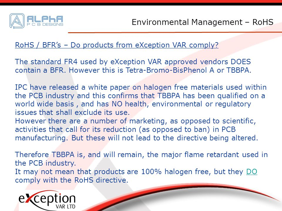 RoHS / BFRs – Do products from eXception VAR comply.