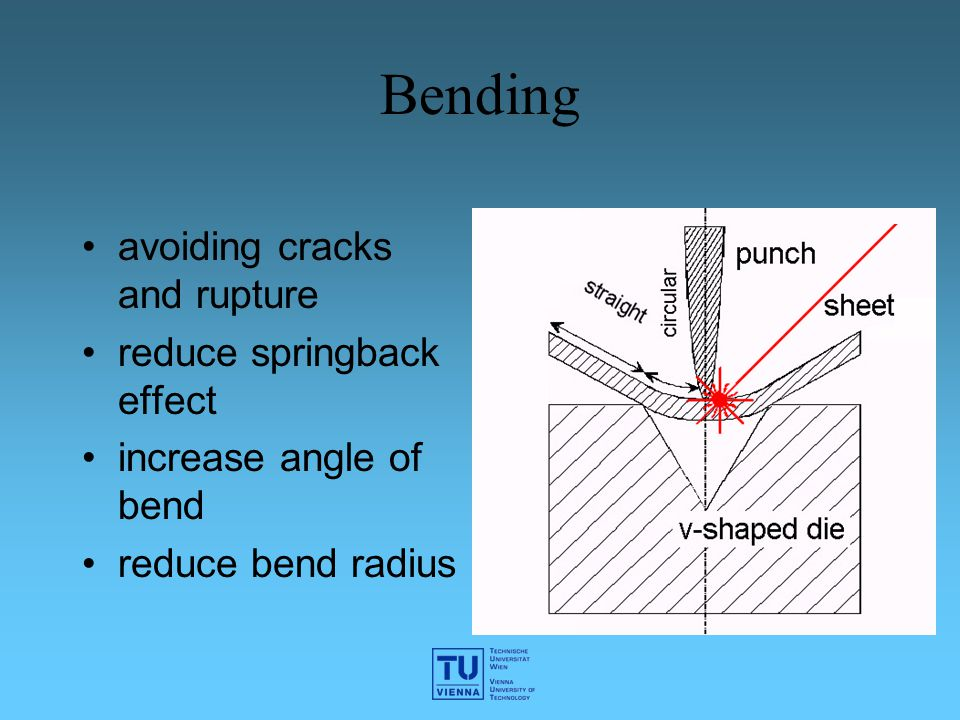 Bending avoiding cracks and rupture reduce springback effect increase angle of bend reduce bend radius