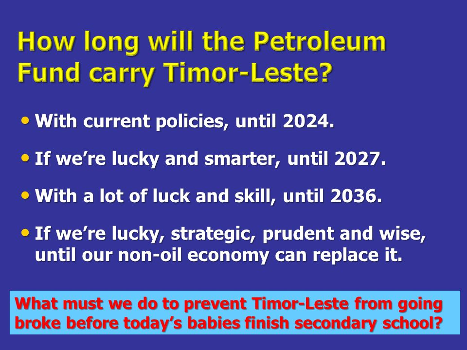 With current policies, until 2024. With current policies, until 2024.