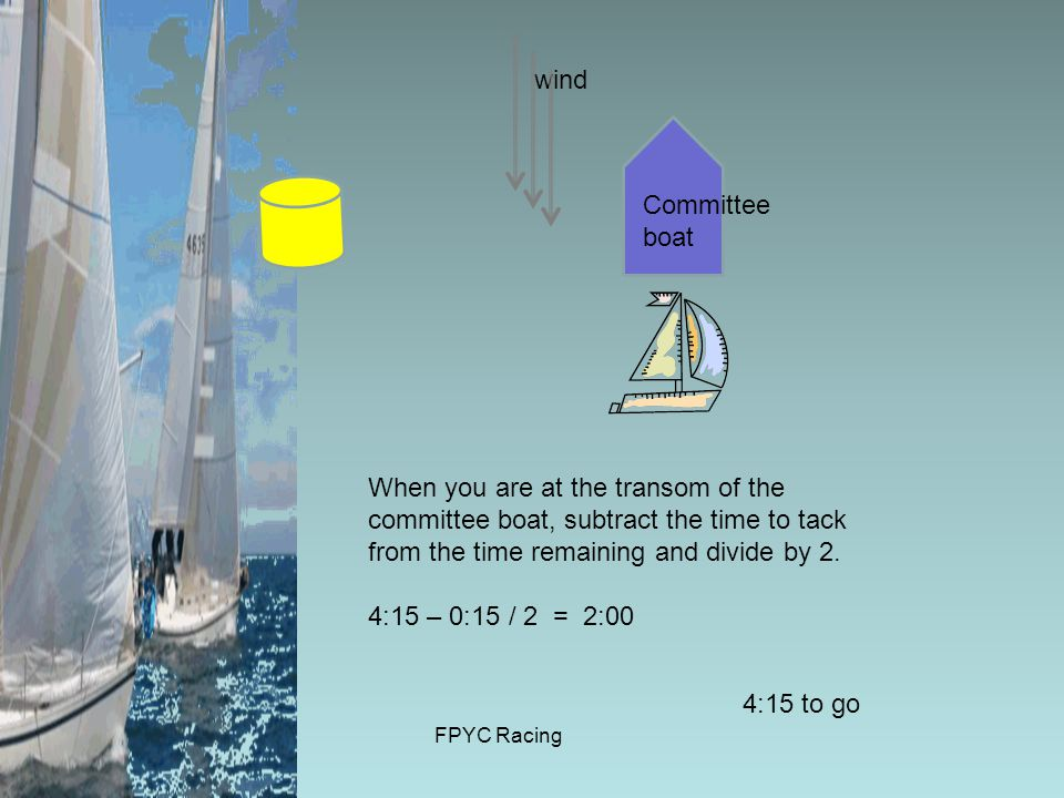 FPYC Racing wind Committee boat 4:15 to go When you are at the transom of the committee boat, subtract the time to tack from the time remaining and divide by 2.