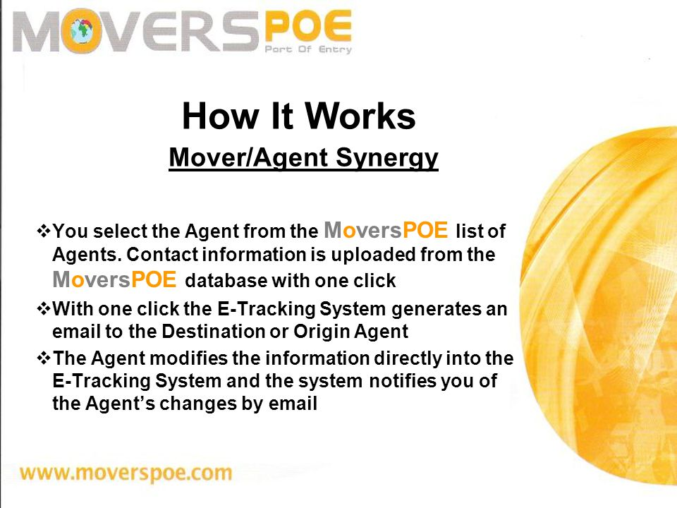 You select the Agent from the MoversPOE list of Agents.